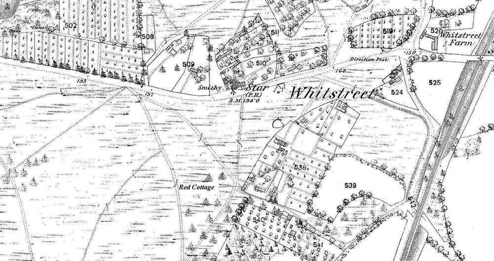 Old map showing part of Hook Heath and Red Cottage